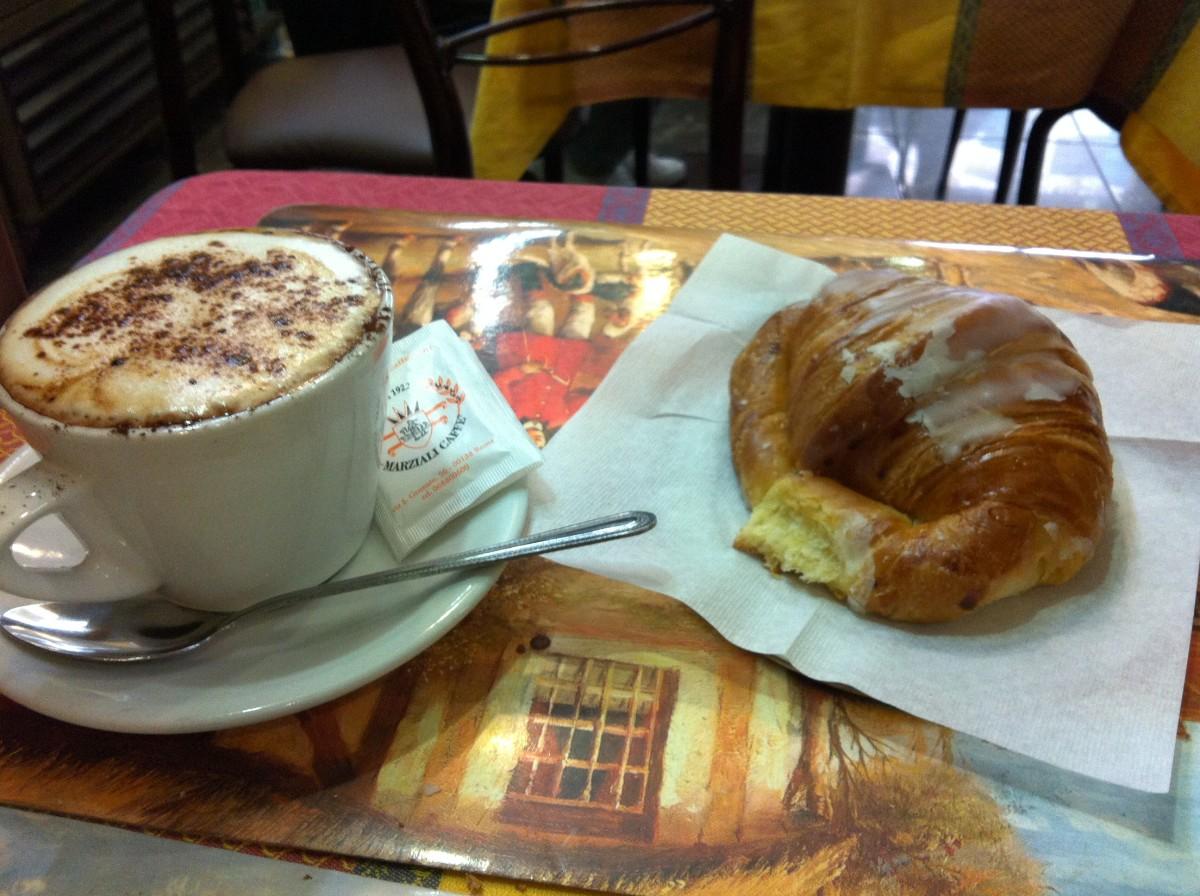Cappuccino and cornetto at the bar Milano