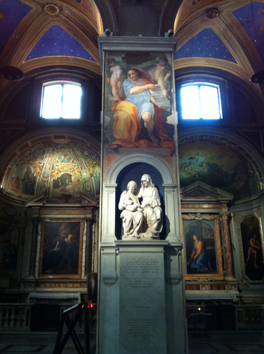 The Prophet Isiah by Raphael and below Sansovino's marble statue St. Anne, Virgin Mary and Child Jesus