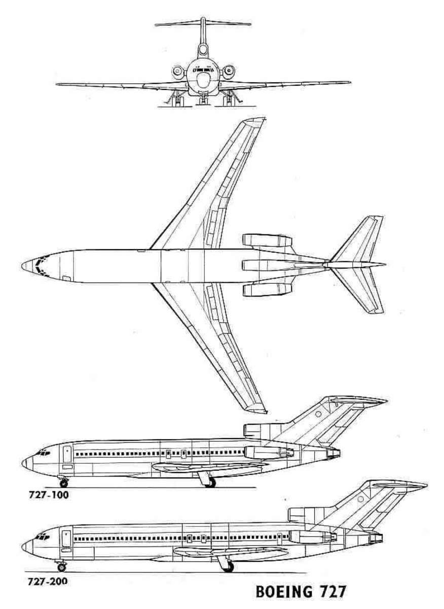 (Note:  A depiction comparing the two base variant models (-100 and -200) in the Boeing 727 aircraft.  The 200 model had the fuselage extended by 20 feet in length.)