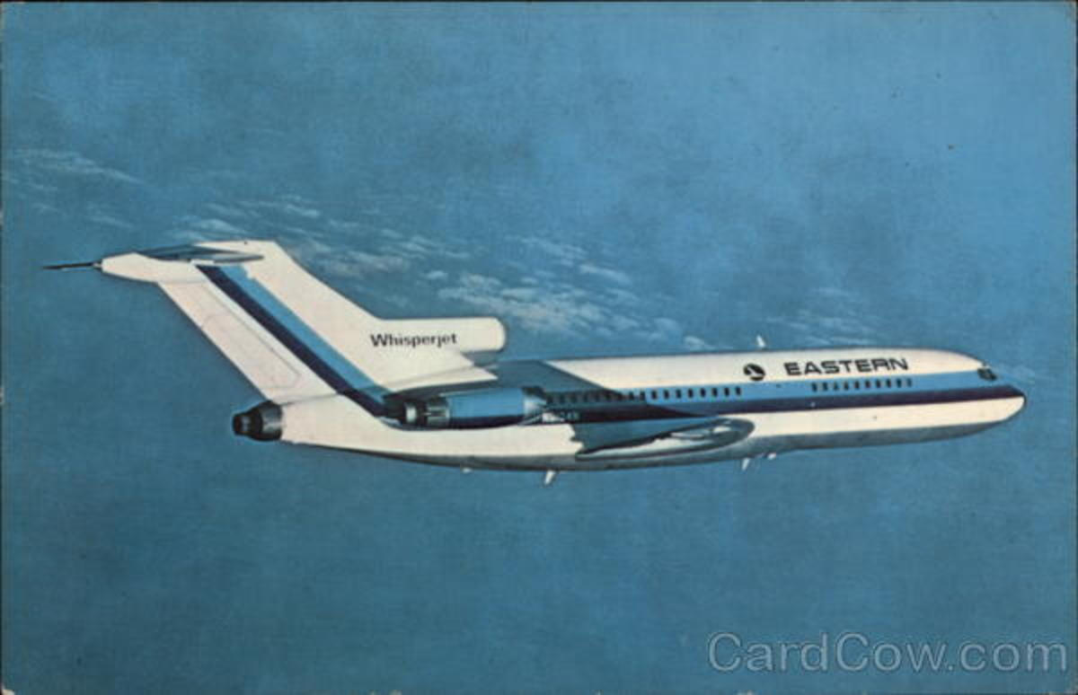 "(Note: A Boeing 727-100 dressed out in Eastern Airlines livery.  Eastern referred to the Boeing 727 as ""The Whisper-jet"".)"