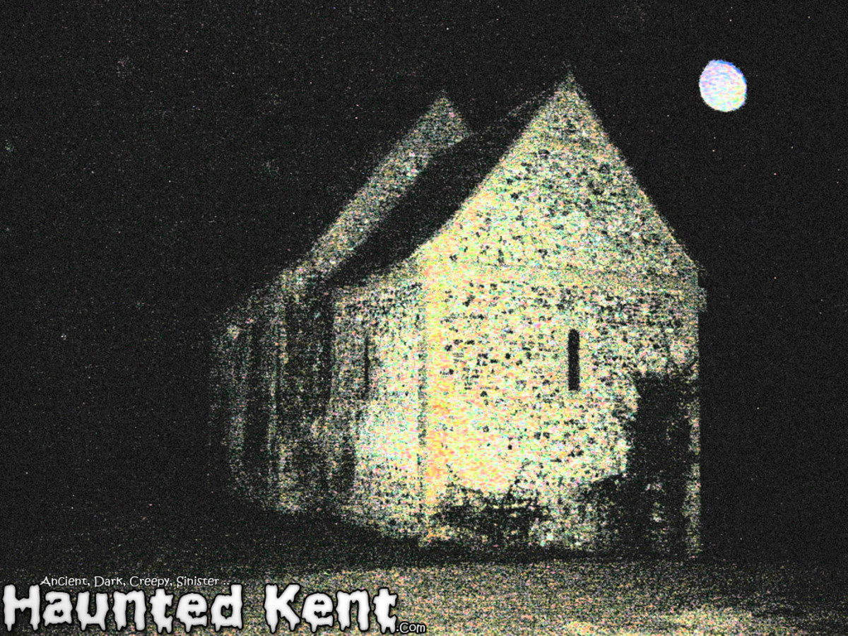 Dowde church (the white orb is not the moon but often appear in photos of a supernatural nature and is thought to be a floating spirit.)