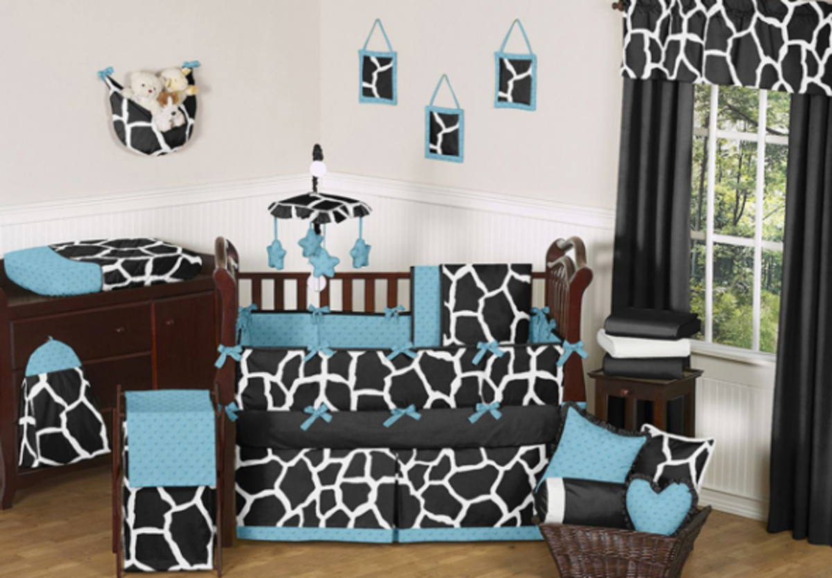 Black Blue and White Giraffe Print Baby Bedding