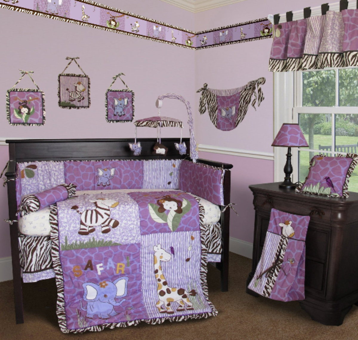 Purple and Pink Giraffe Print Baby Bedding