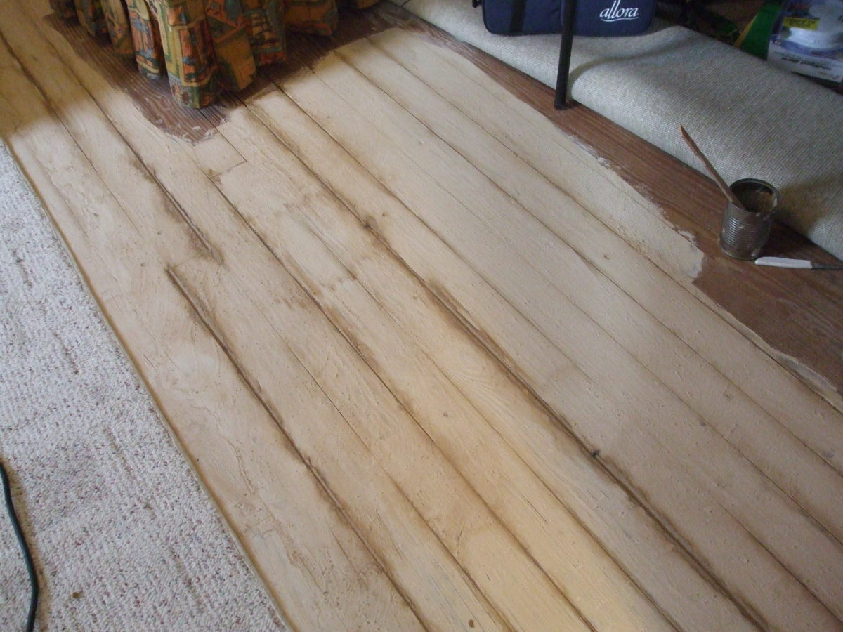 How one coat of homemade whitewash looks using garden brown lime product, salt and water.