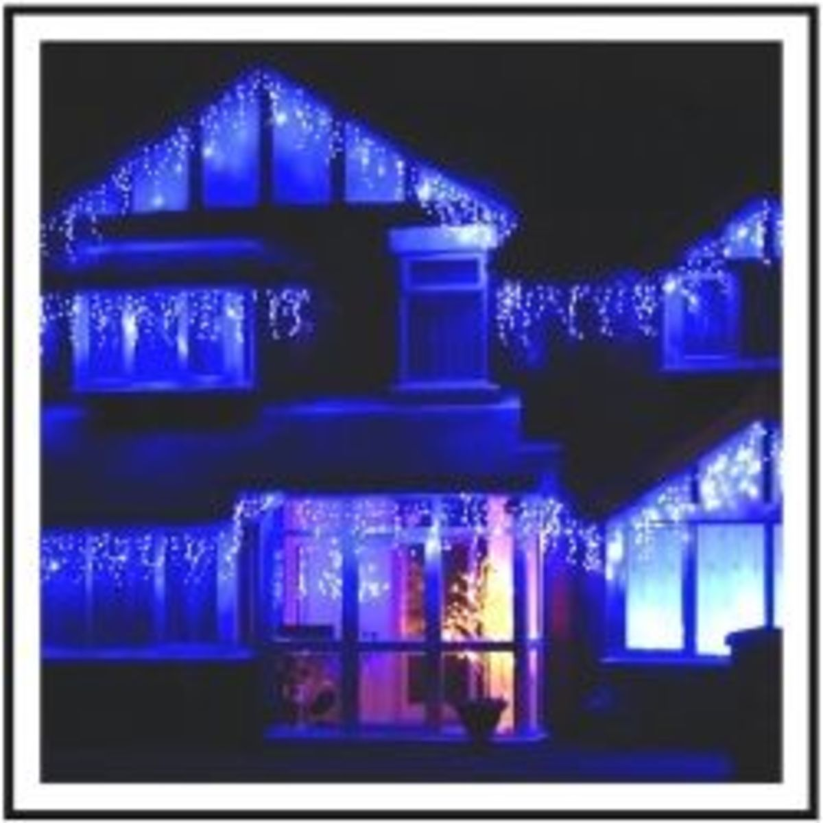 Blue Icicle Christmas Holiday LED Lights Trim This House on the Water. Available below.