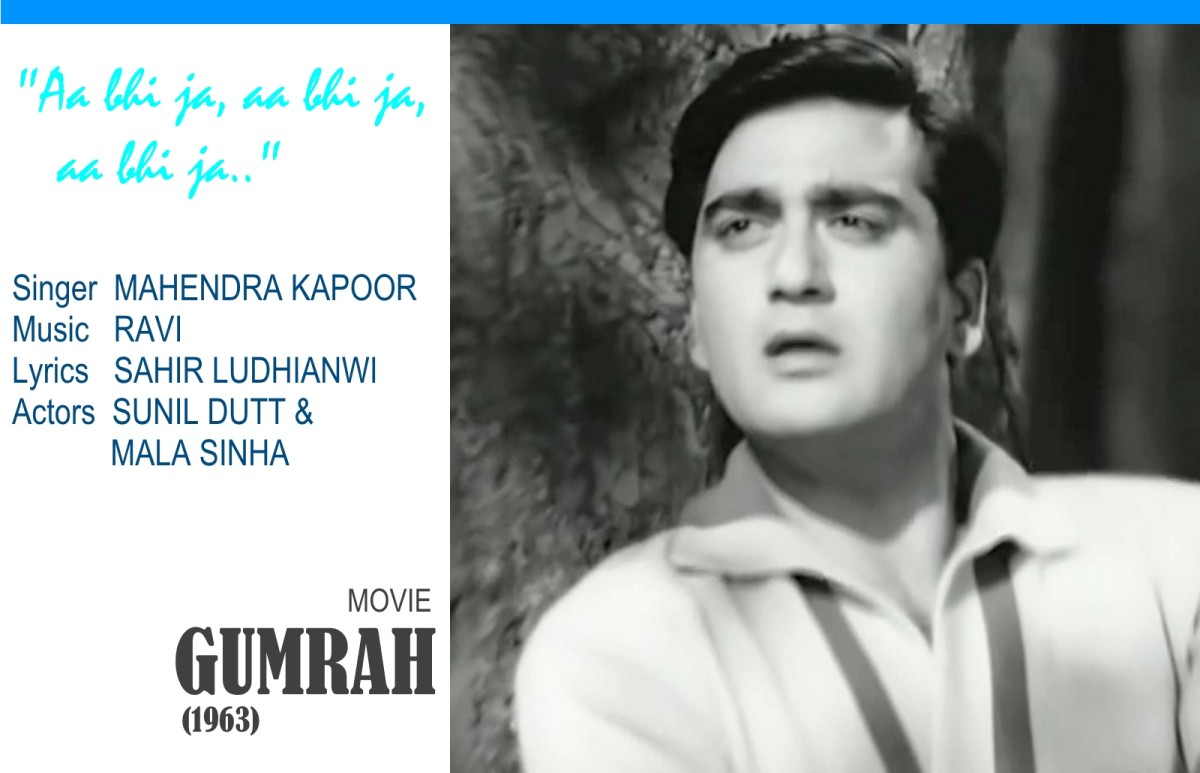 "Sunil Dutt in the song ""Aa bhi ja, aa bhi ja, aa bhi ja.."", an excellent composition based on Raag Bhupali, and sung by Mahendra Kapoor, from the movie, 'GUMRAH' (1963)."