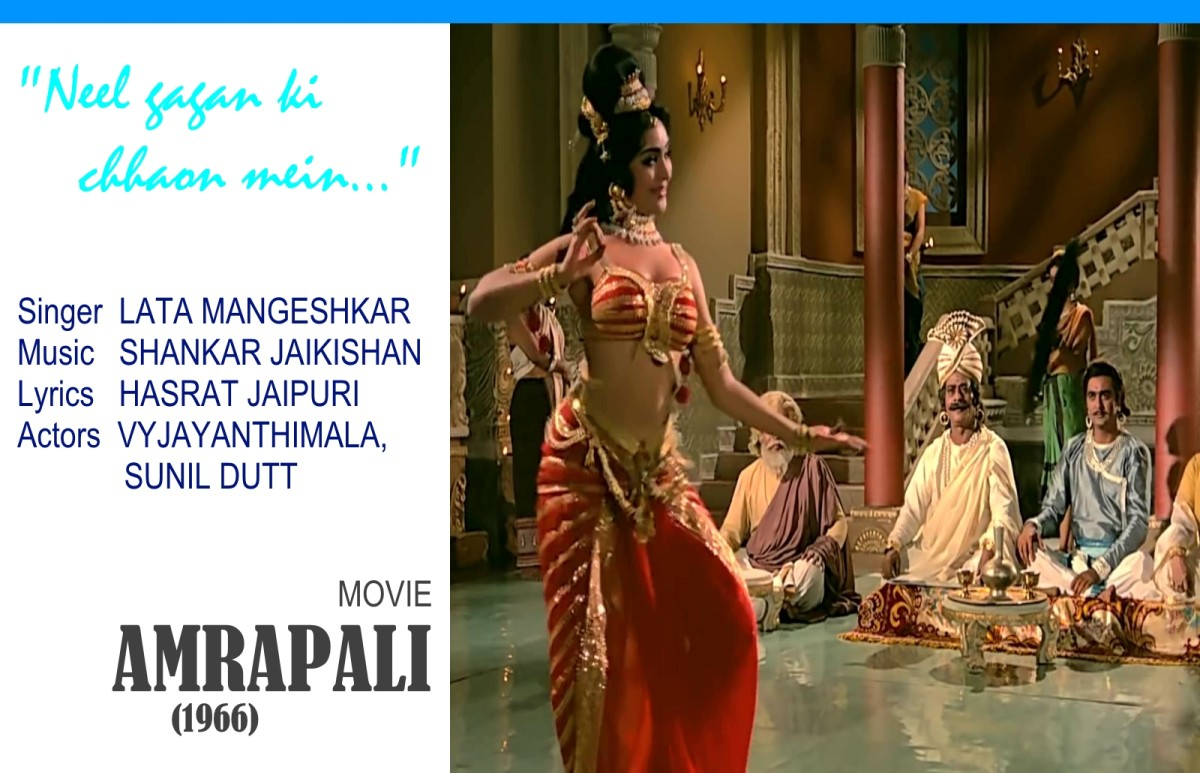 """Neel gagan ki chhaon mein.."", one of the best ever song-dances of Bollywood in Raag Bhupali, featuring Vyjayanthimala, one of the best dancers in the history of Bollywood, from the movie, 'AMRAPALI' (1966)."