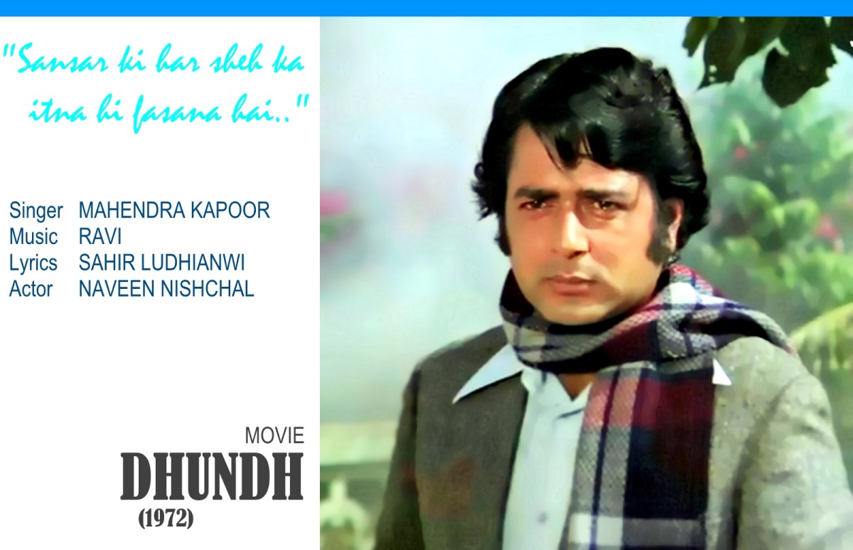 "Naveen Nishchal in the song, ""Sansar ki har shay ka itna hi fasana hai.."", a great number composed in Raag Bhupali and sung by Mahendra Kapoor, for the suspense thriller movie, 'DHUNDH' (1972),"