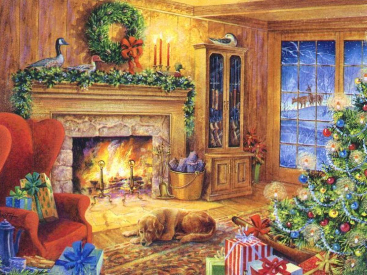 christmas fireplace with dog