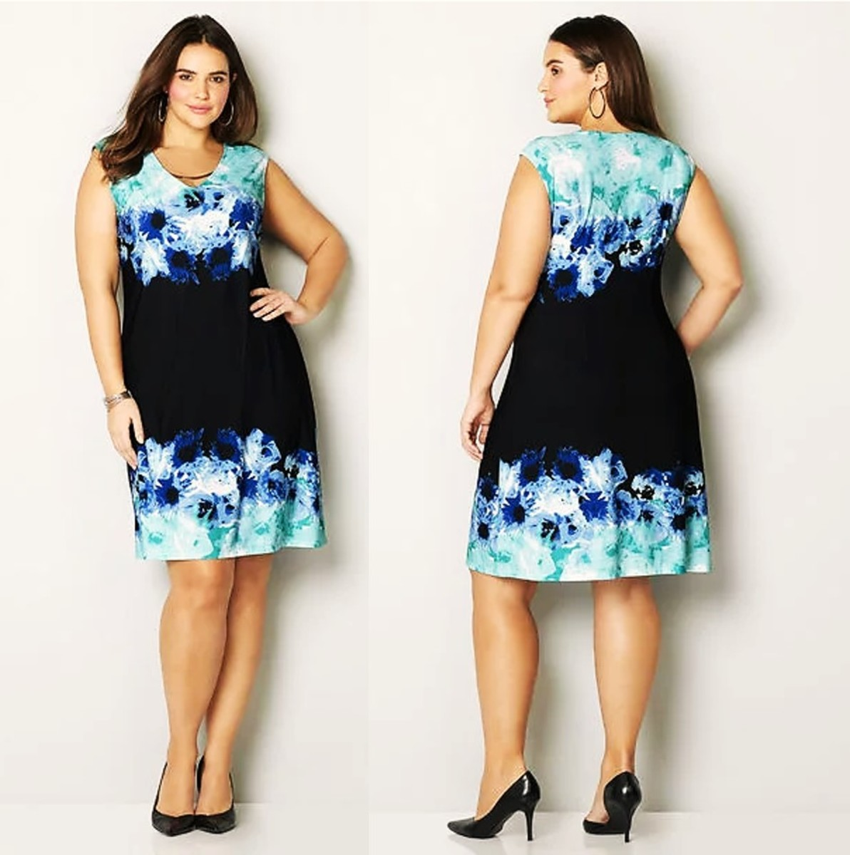 feminine sheath dress with beautiful border of flowers at the neck and hemline