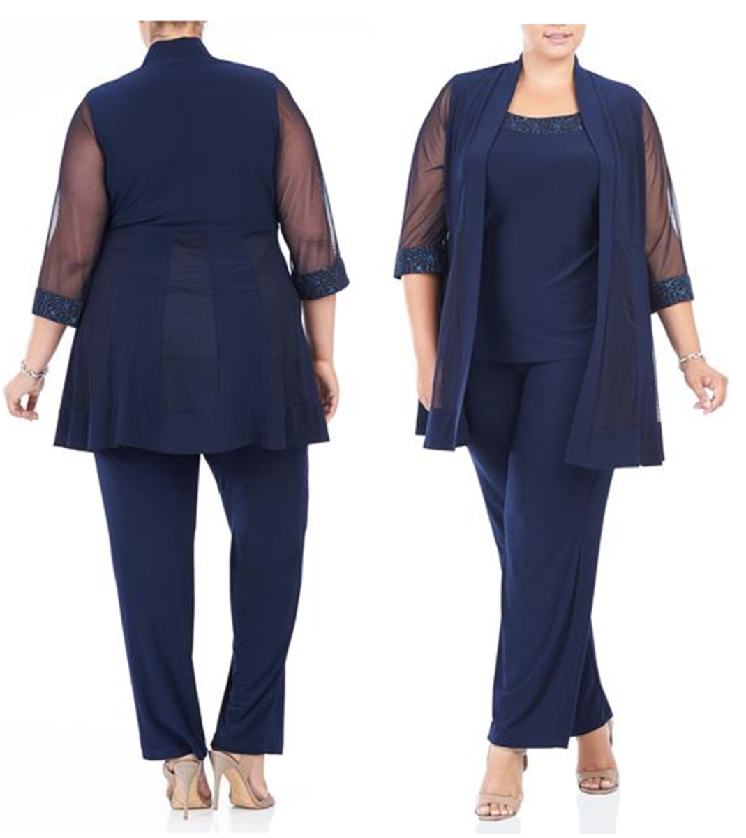 3 piece pantsuit with glitter details and mesh sleeves