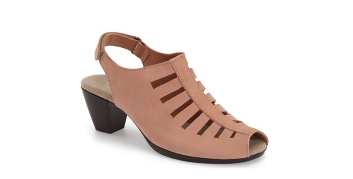 slingback sandal with peep toe and stacked heel is shock-absorbent, flexible and slip-resistant, adjustable strap with buckle closure, leather upper/textile lining/rubber sole, 2.5 inch heel