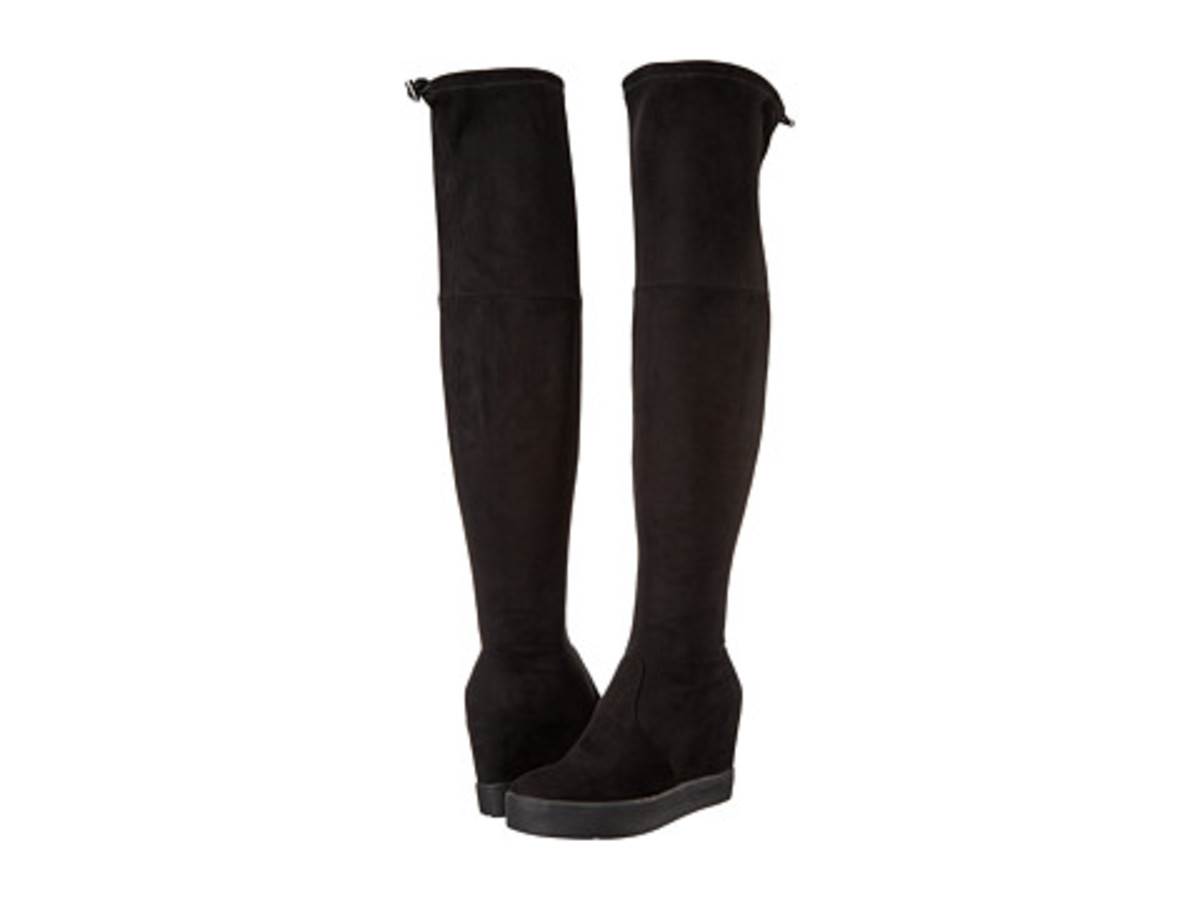 comfy, super stylish over the knee boots: fabric upper, round toe, hidden wedge with rubber outsole -- and  super sexy too!