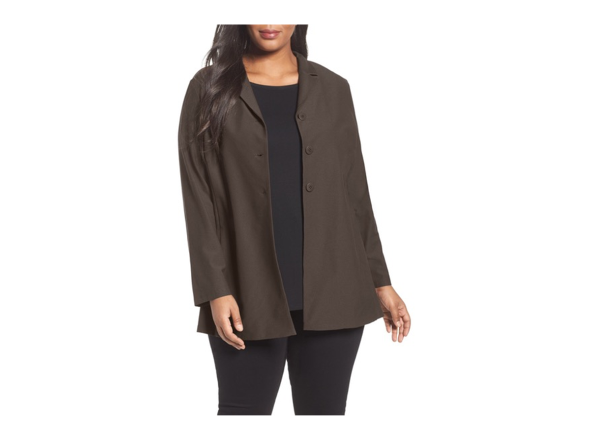 notch-collar jacket softly structured from a textural stretch knit