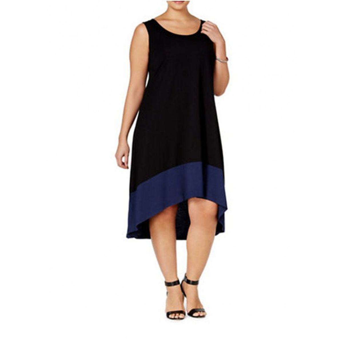 sleeveless dress with A-line silhouette, colorblocking and high-low hem -- the stylish hemline emphasizes the legs
