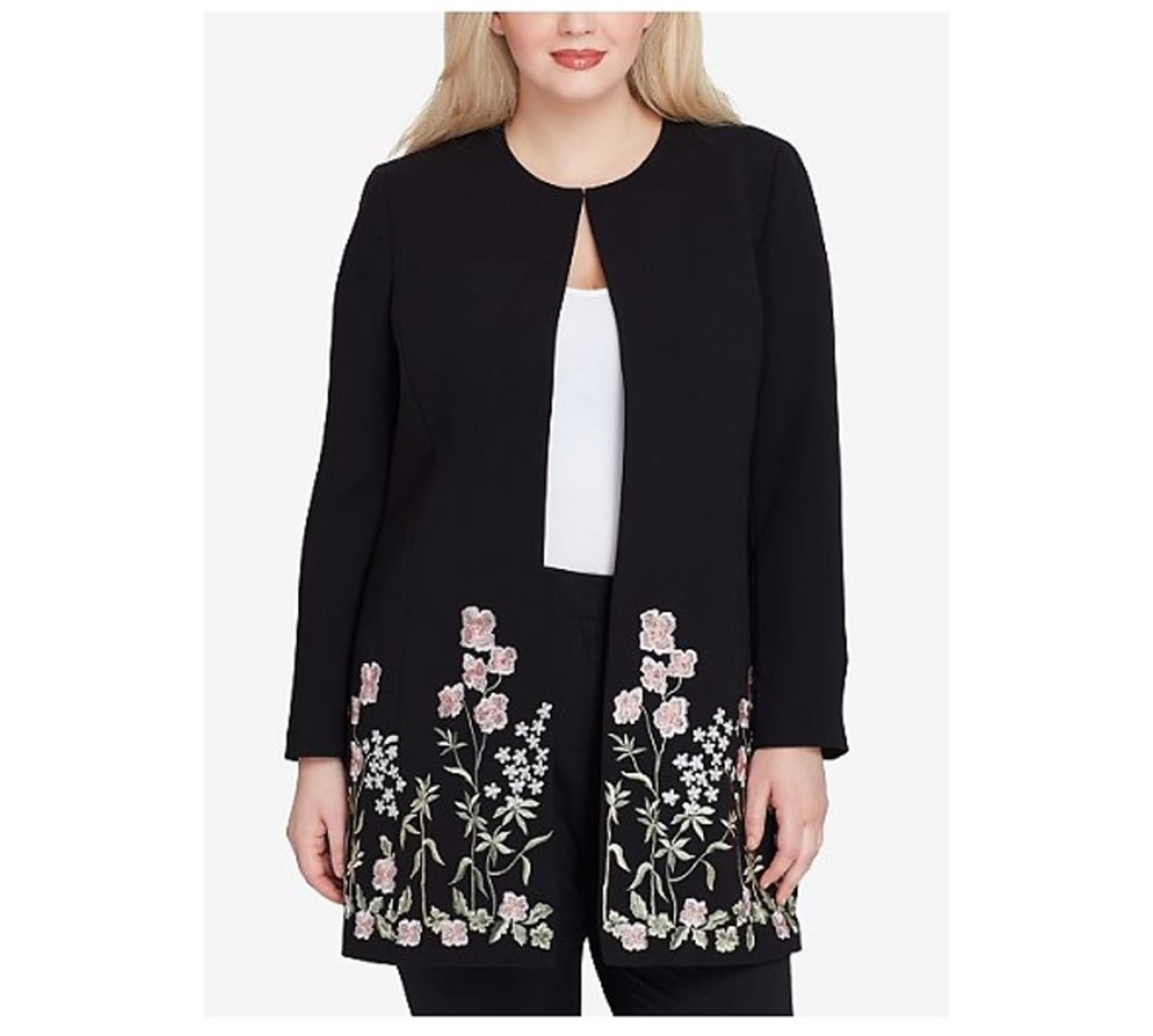 topper jacket with elongated hem, floral embroidery at front