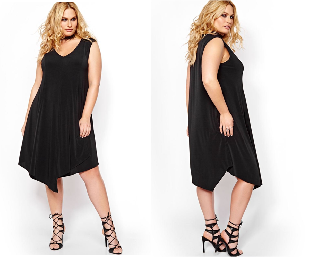 sleeveless V-neck loose-fitting swing dress with asymmetrical hem