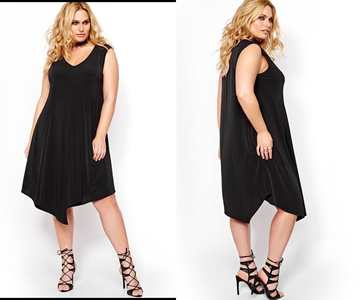 sleeveless V-neck loose-fitting swing dress with asymmetrical hem