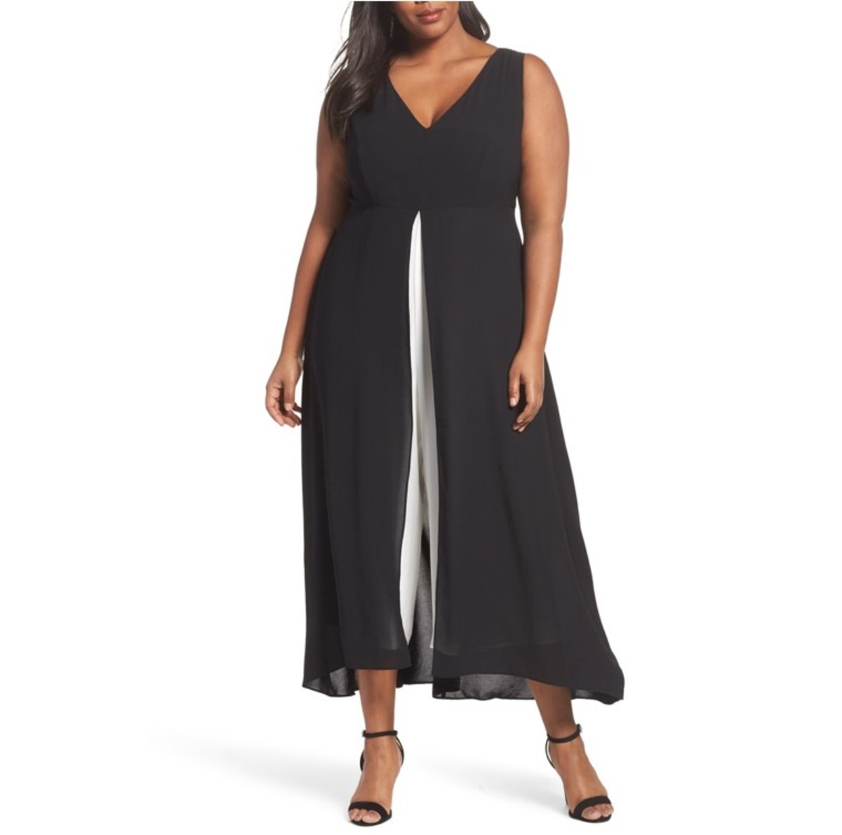 deep V-neck empire-waist black and white jumpsuit
