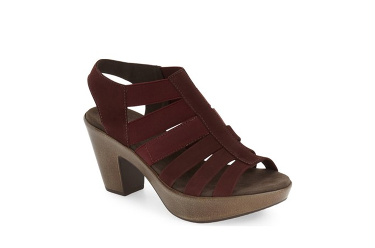 stylish platform sandal with chunky heel and slingback strap, molded and shock-absorbing sole make it comfortable, mix of leather and elastic laddered straps, 3 inch heel, 1.5 inch platform