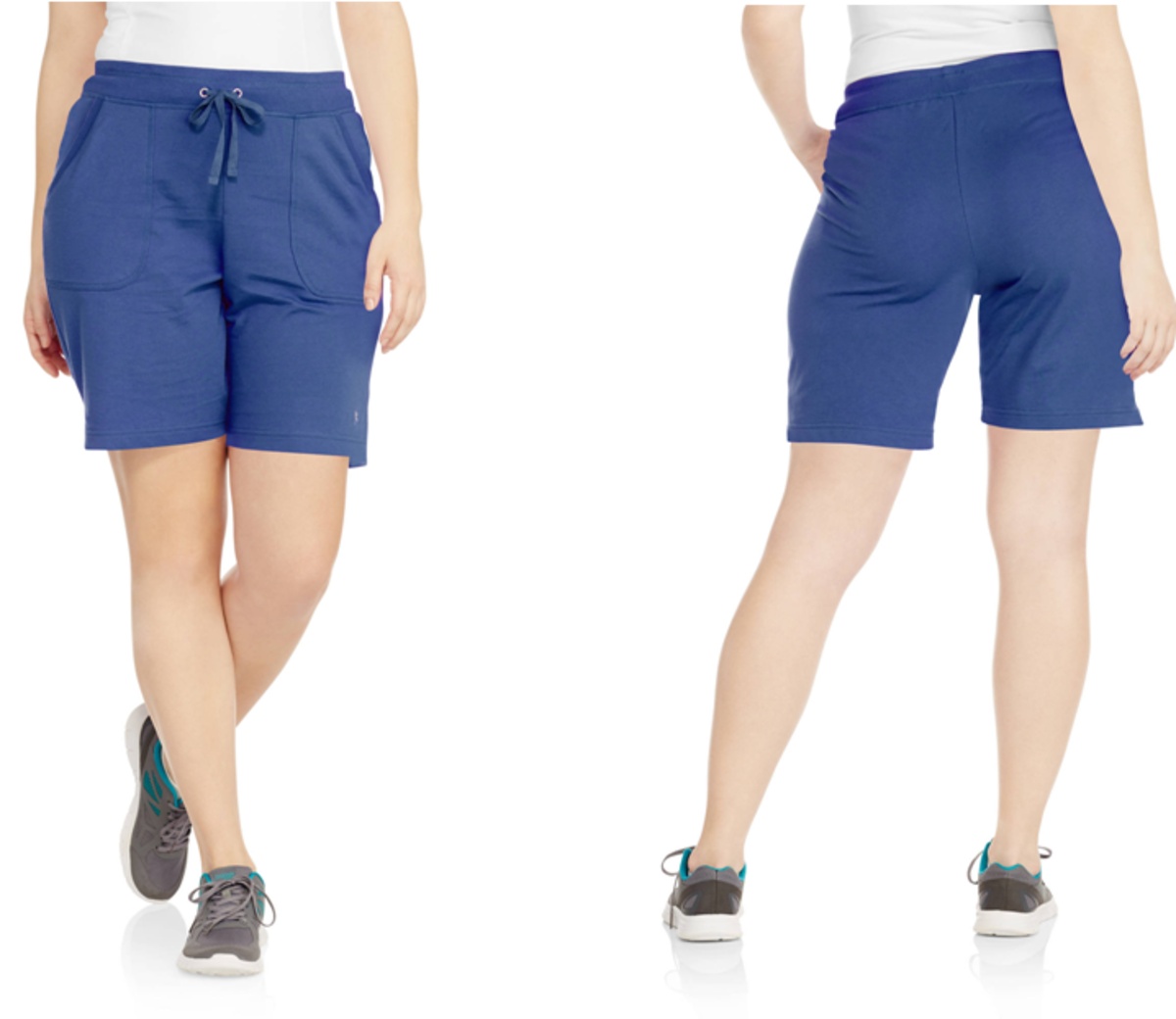 cotton-polyester French terry Bermuda shorts with drawstring waistband and 2 side pockets