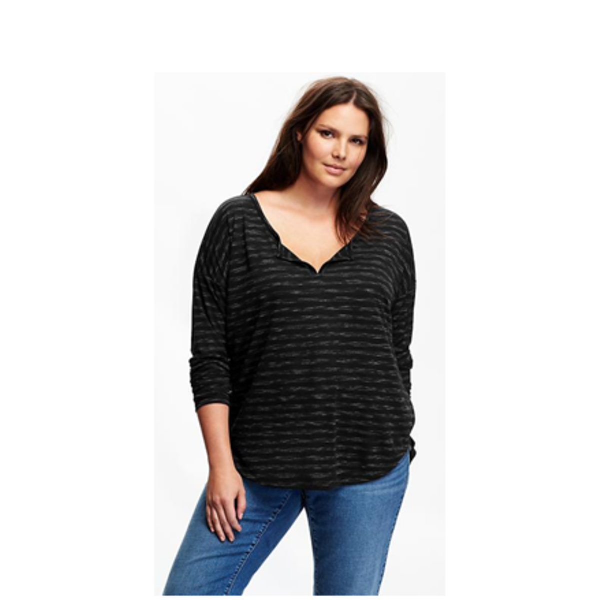 split V-neck henley, soft lightweight burnout jersey in all-over stripes with drop-shoulder, rounded hi-lo hem
