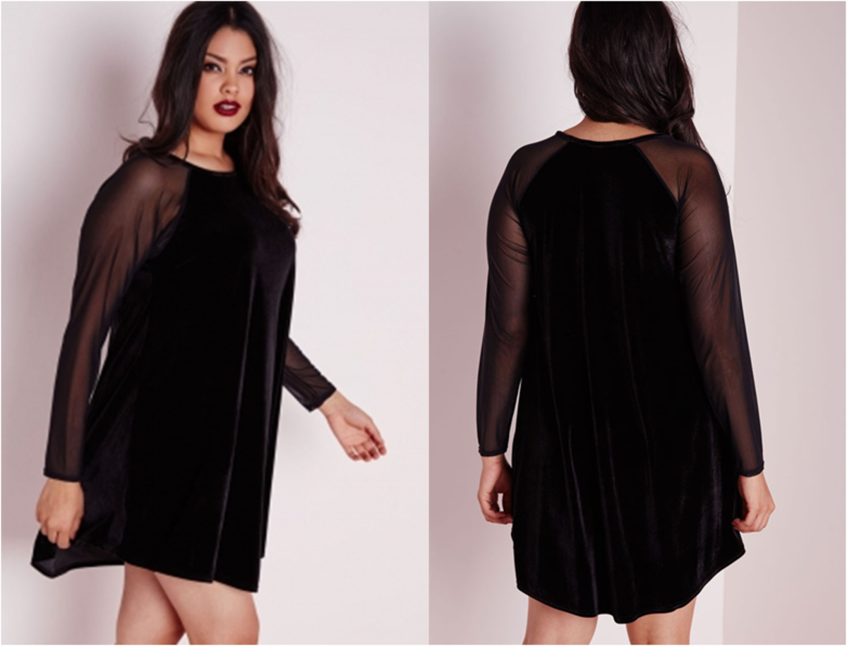 velvet T-shirt dress with round neck and long mesh sleeves: curves have never looked more sexy