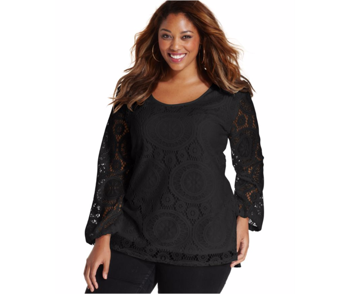 easy fit long-sleeved blouse with lace overlay and scoop neck