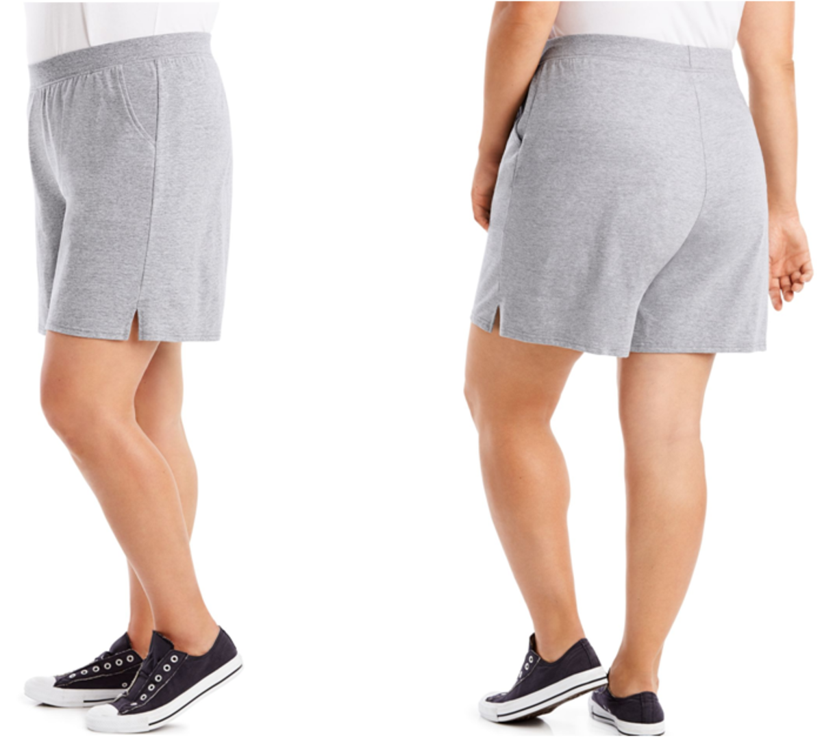 soft cotton jersey shorts with wide, ribbed elastic waist that flexes for ease of movement