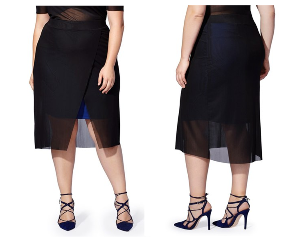 for those with lovely legs, this vibrant stretch-knit skirt with asymmetrical black-mesh overlay wrap  is for you