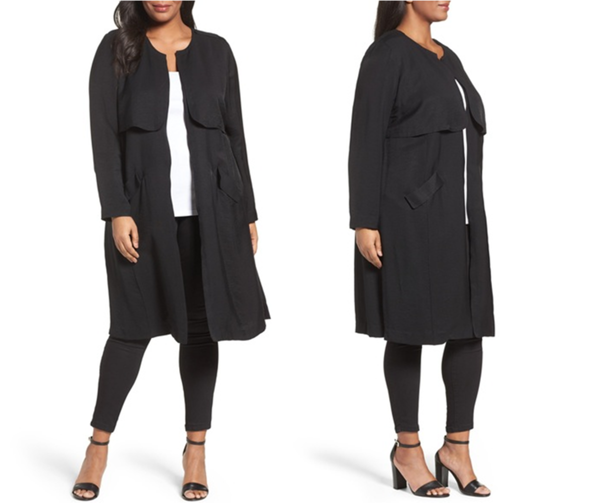 collarless long, lightly structured coat with gunflaps; unlined, side slits