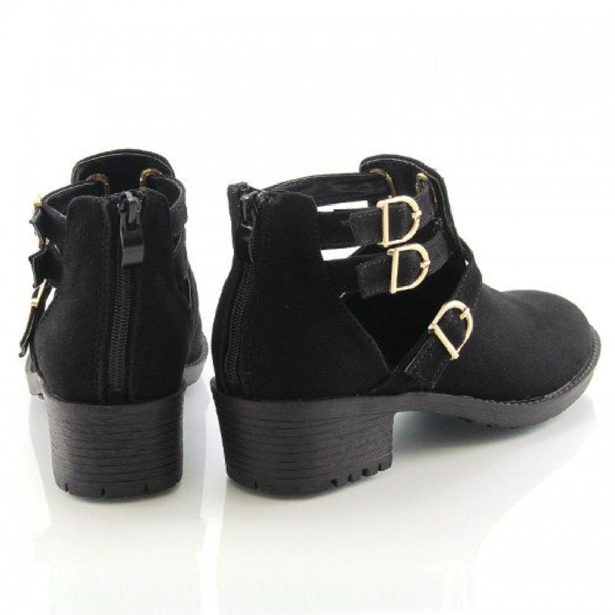 low suede block heel ankle boots with cutout design and zipper back -- style and comfort at its best