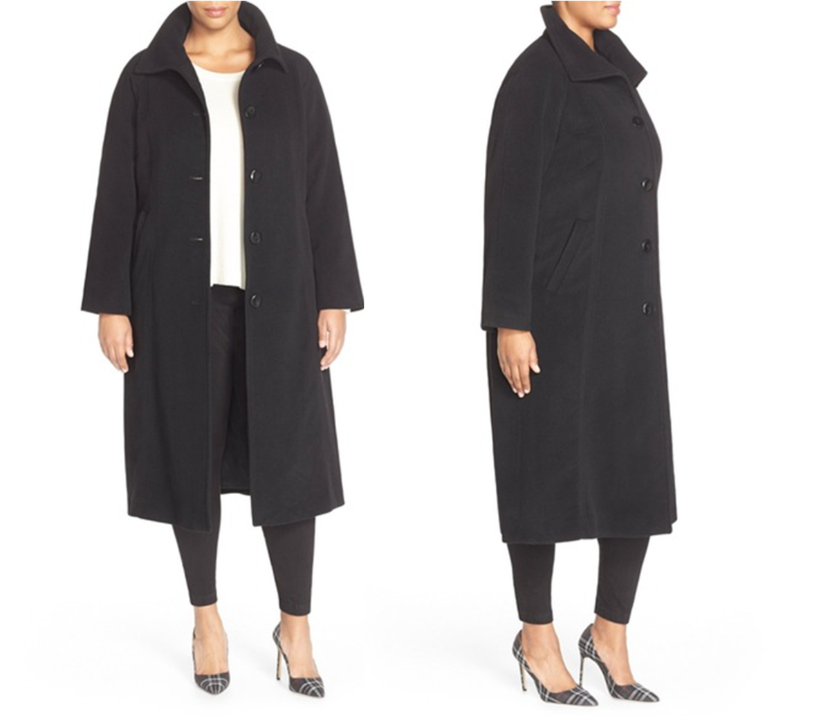 raglan-sleeve coat cut from a wool blend in a longer, A-line silhouette