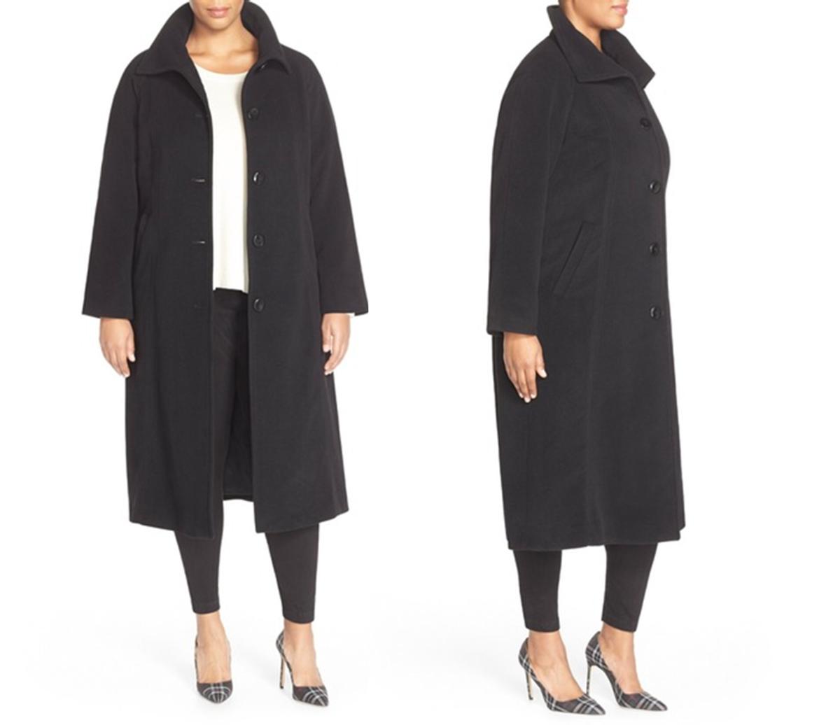 raglan-sleeve coat cut from a wool blend in a longer, A-line silhouette