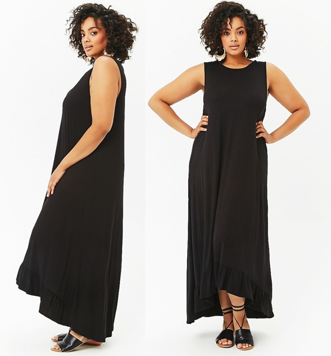 knit sleeveless maxi dress with a scoop neckline and a high-low flounce hem