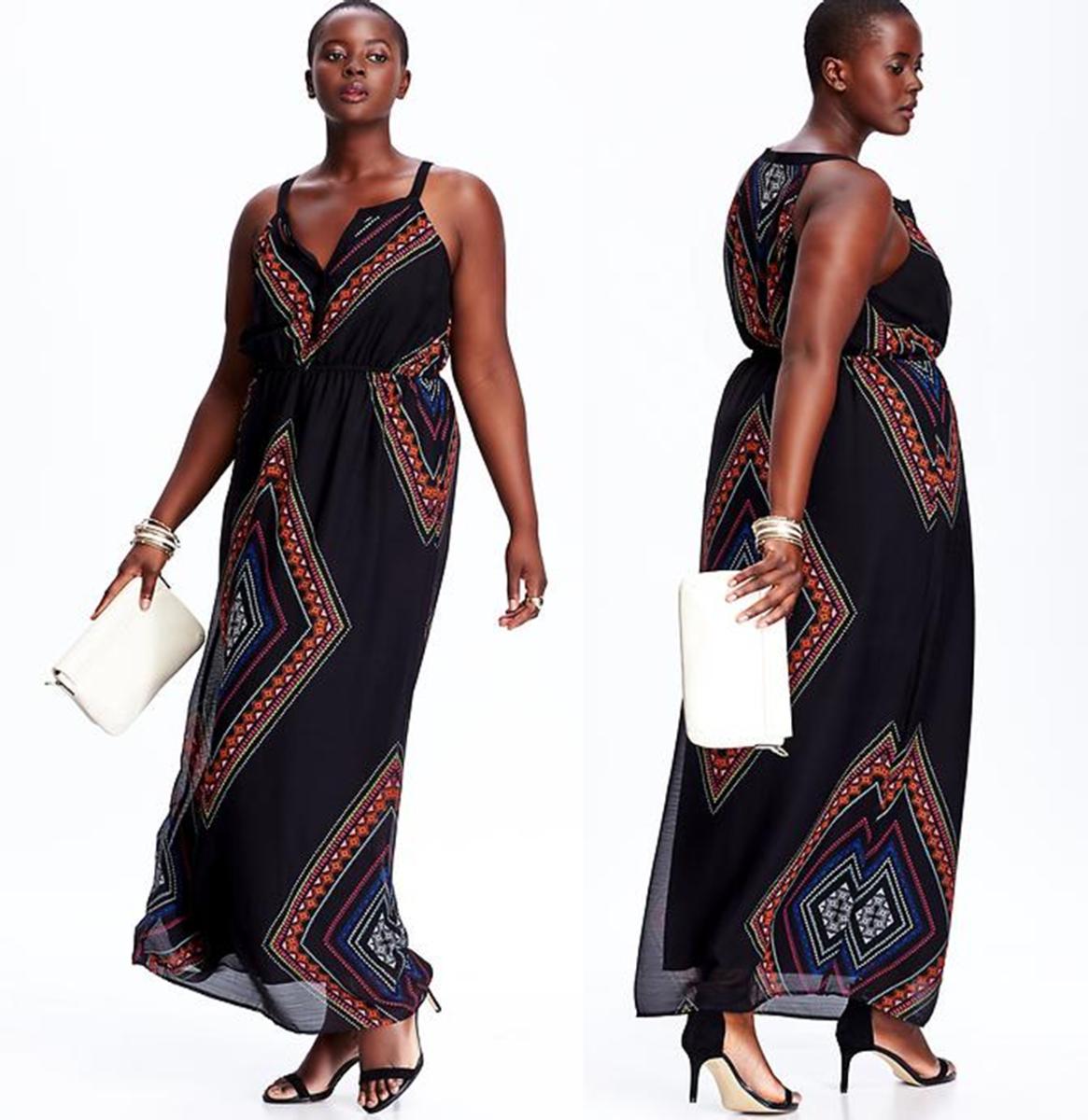 crinkle-chiffon maxi dress with split neckline and elasticized waist