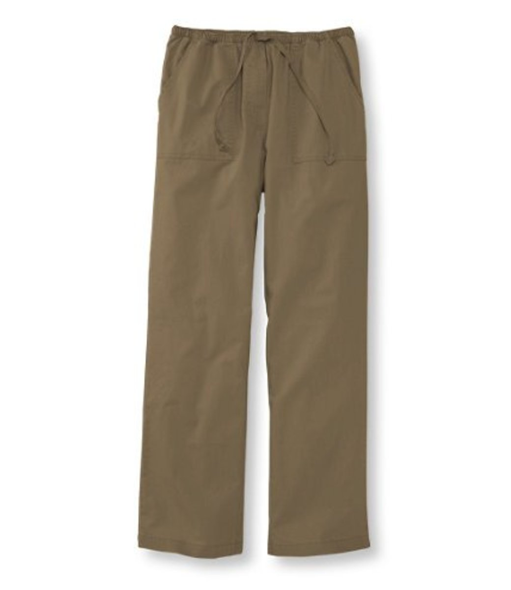 classic fit lightweight cotton canvas pants with elastic waist