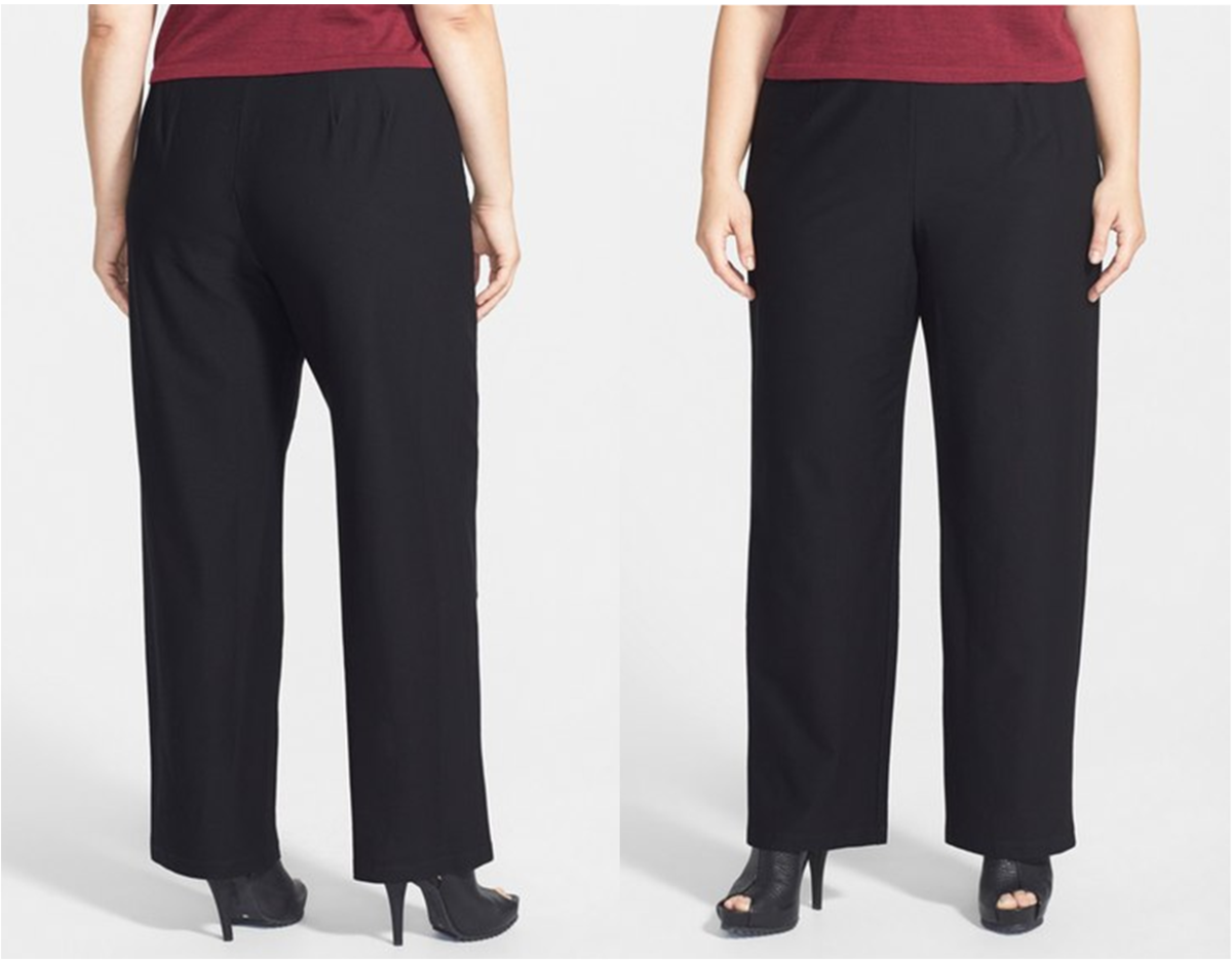 casual yet elegant pull-on straight-leg pants with elastic waistband, no pockets (70% viscose rayon, 24% nylon, 6% spandex)