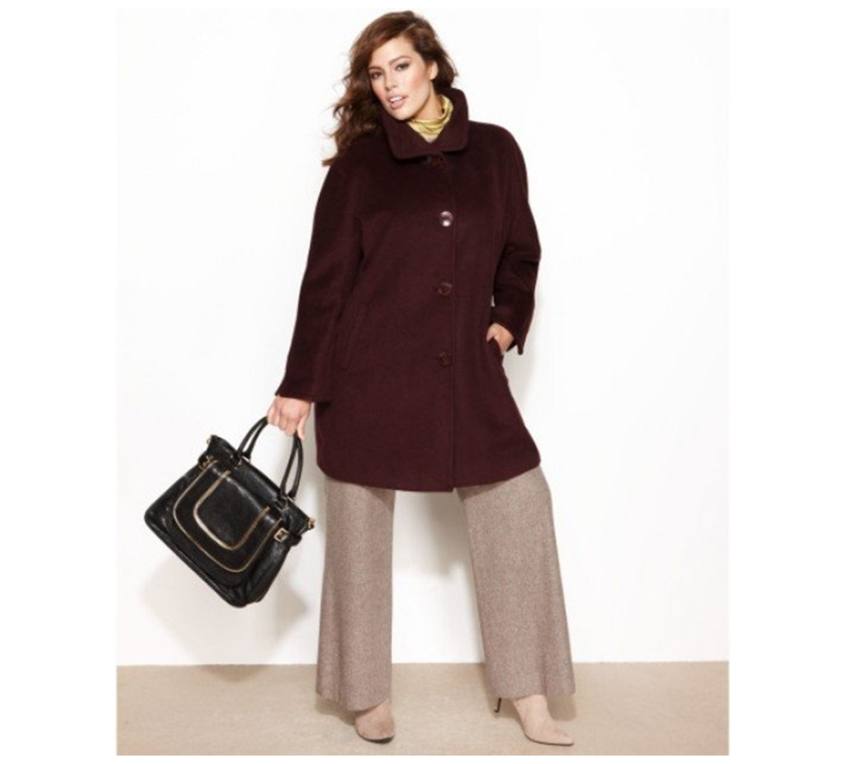 wool blend A-line walker coat