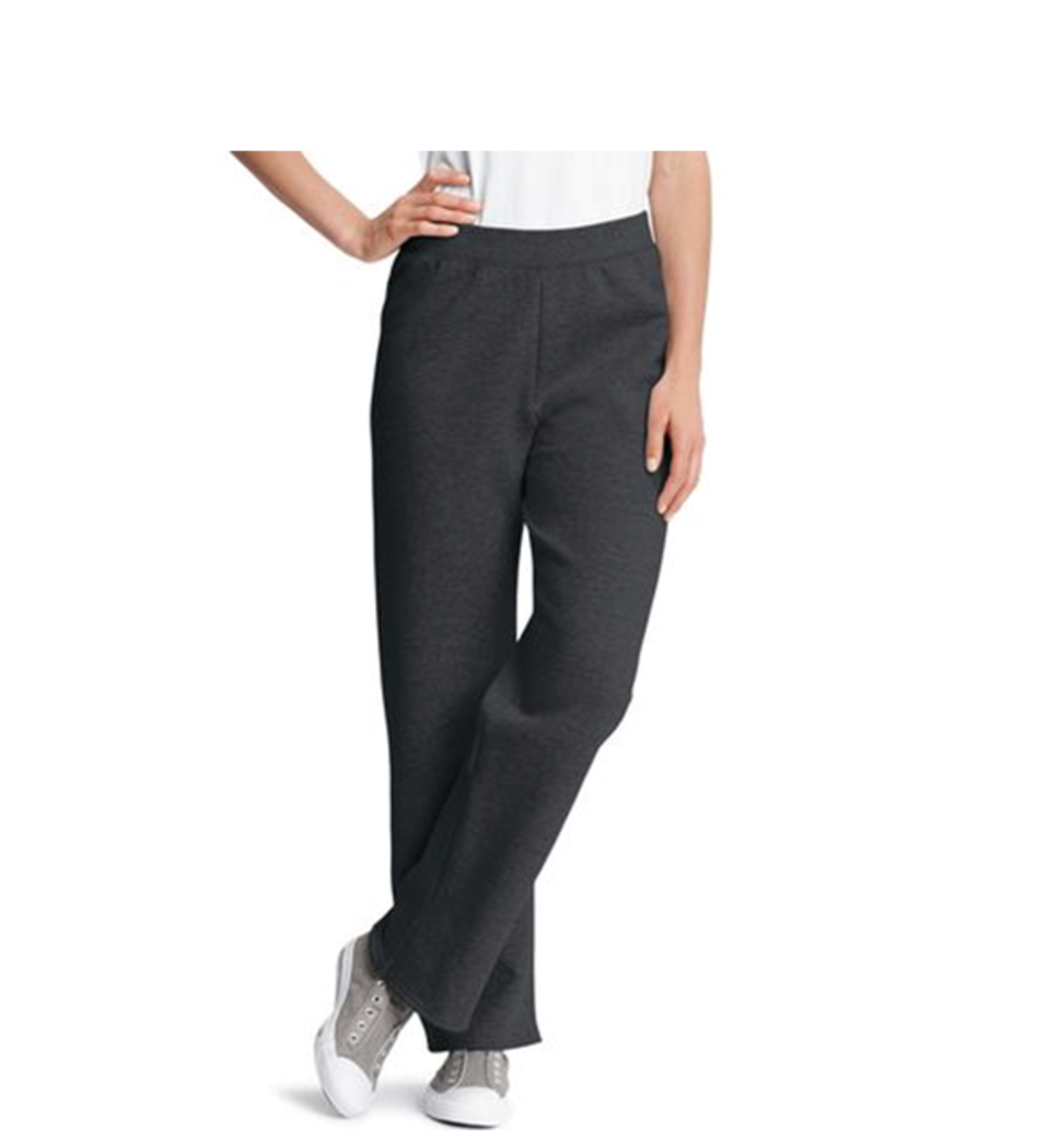 cotton/polyester fleece relaxed sweatpants with flat elastic waistband -- no drawstring, pockets or cuffs