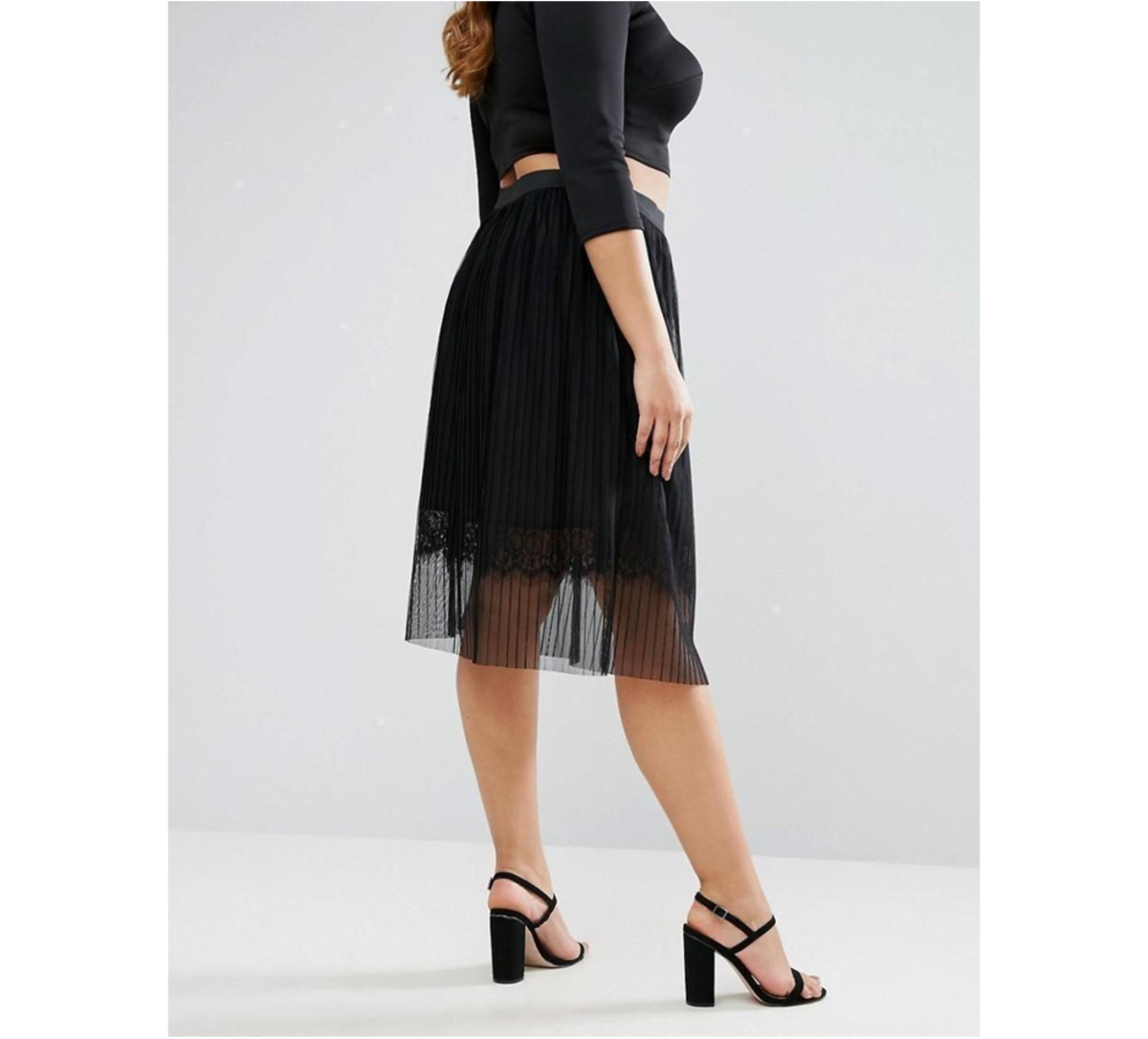 midi skirt: sheer pleated tulle, lace underlay, high-rise waist