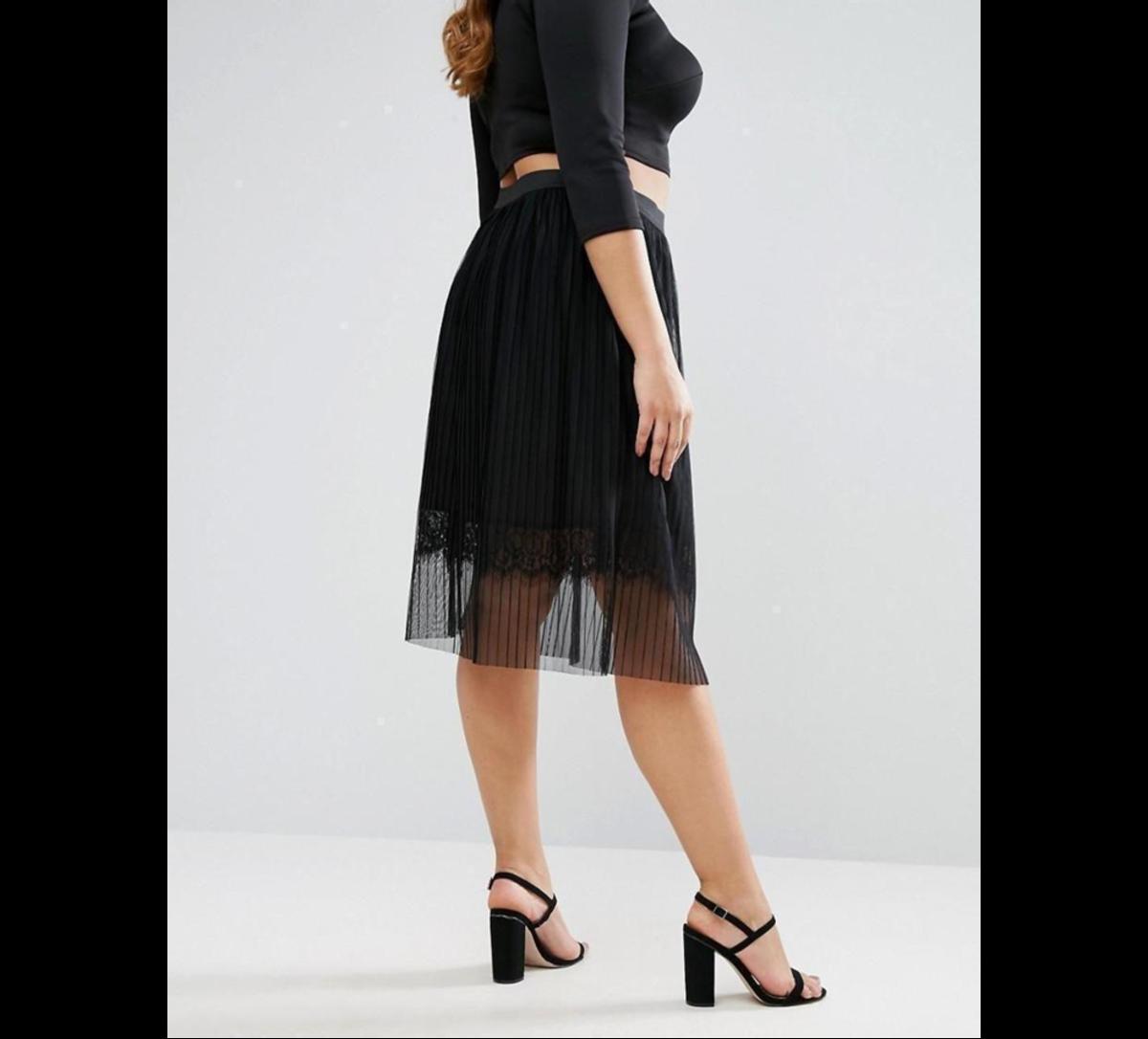 midi skirt: sheer pleated tulle, lace underlay, high-rise waist