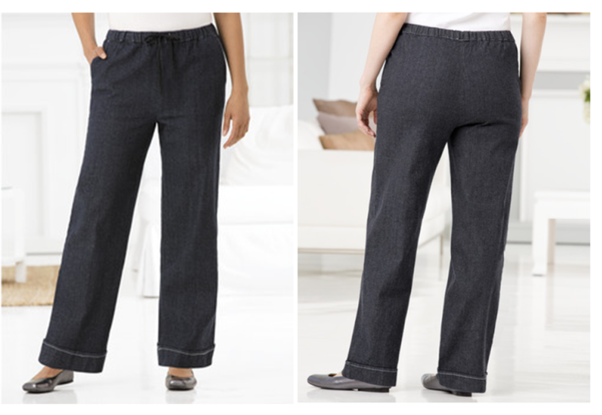 comfy, stretchy wide legged denim pants: all around elastic waist, drawstring, slash pockets, stitched cuffed hem