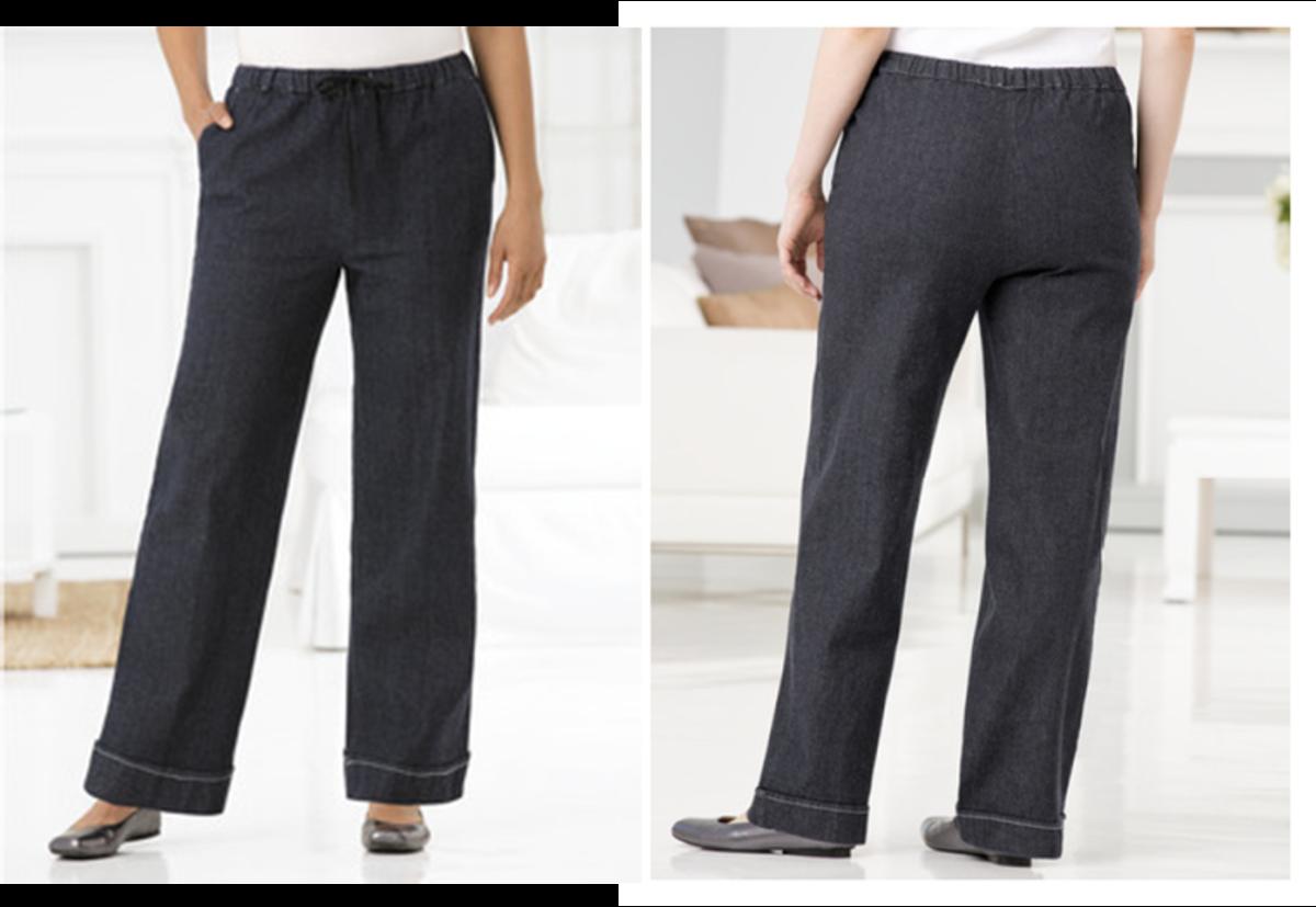 comfy, stretchy wide legged denim pants: all around elastic waist, drawstring, slash pockets, stitched cuffed hem