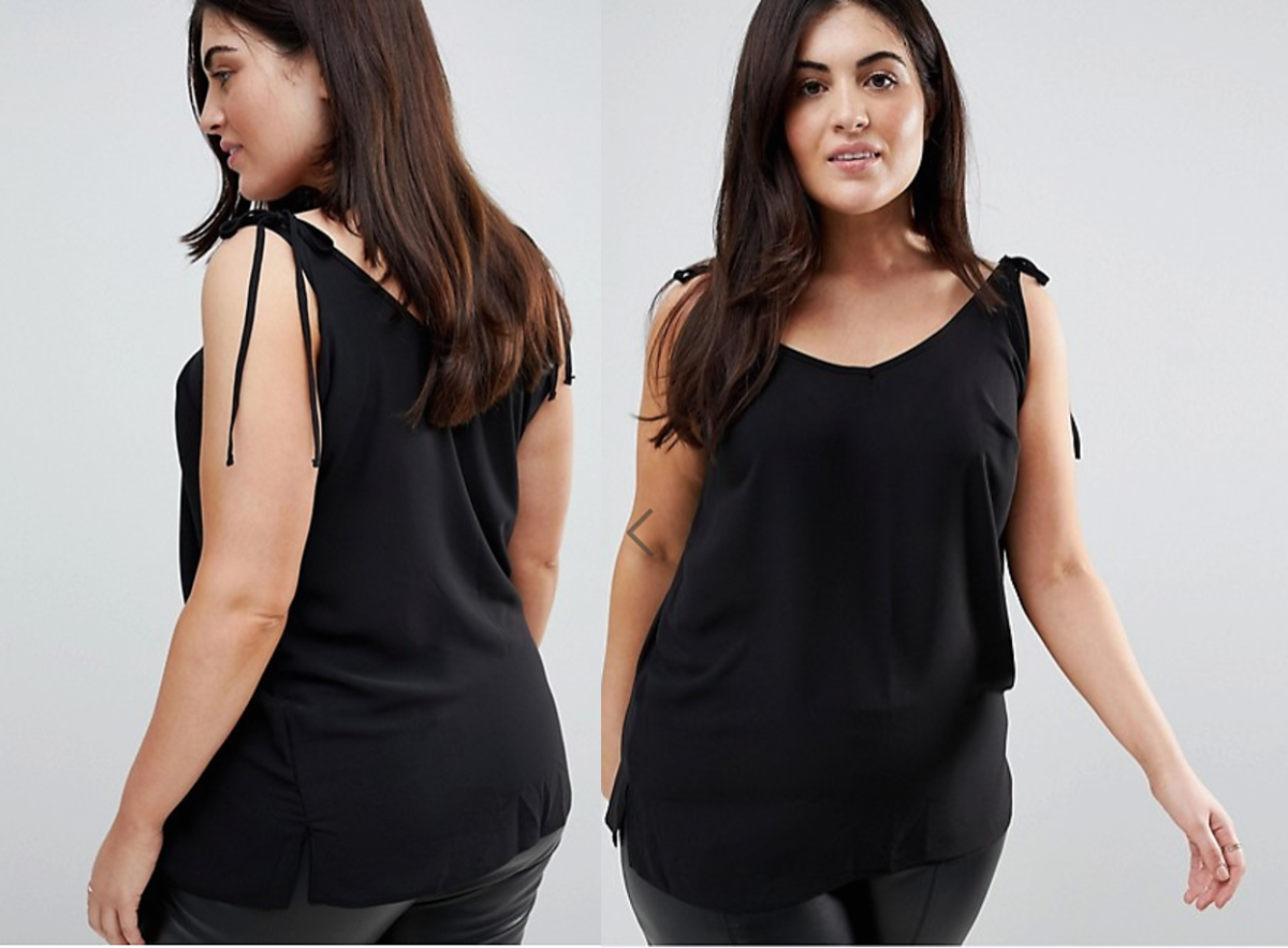 if your bust area is small, shoulder ties are a good way to add balance and interest to the shoulder area without adding extra bulk