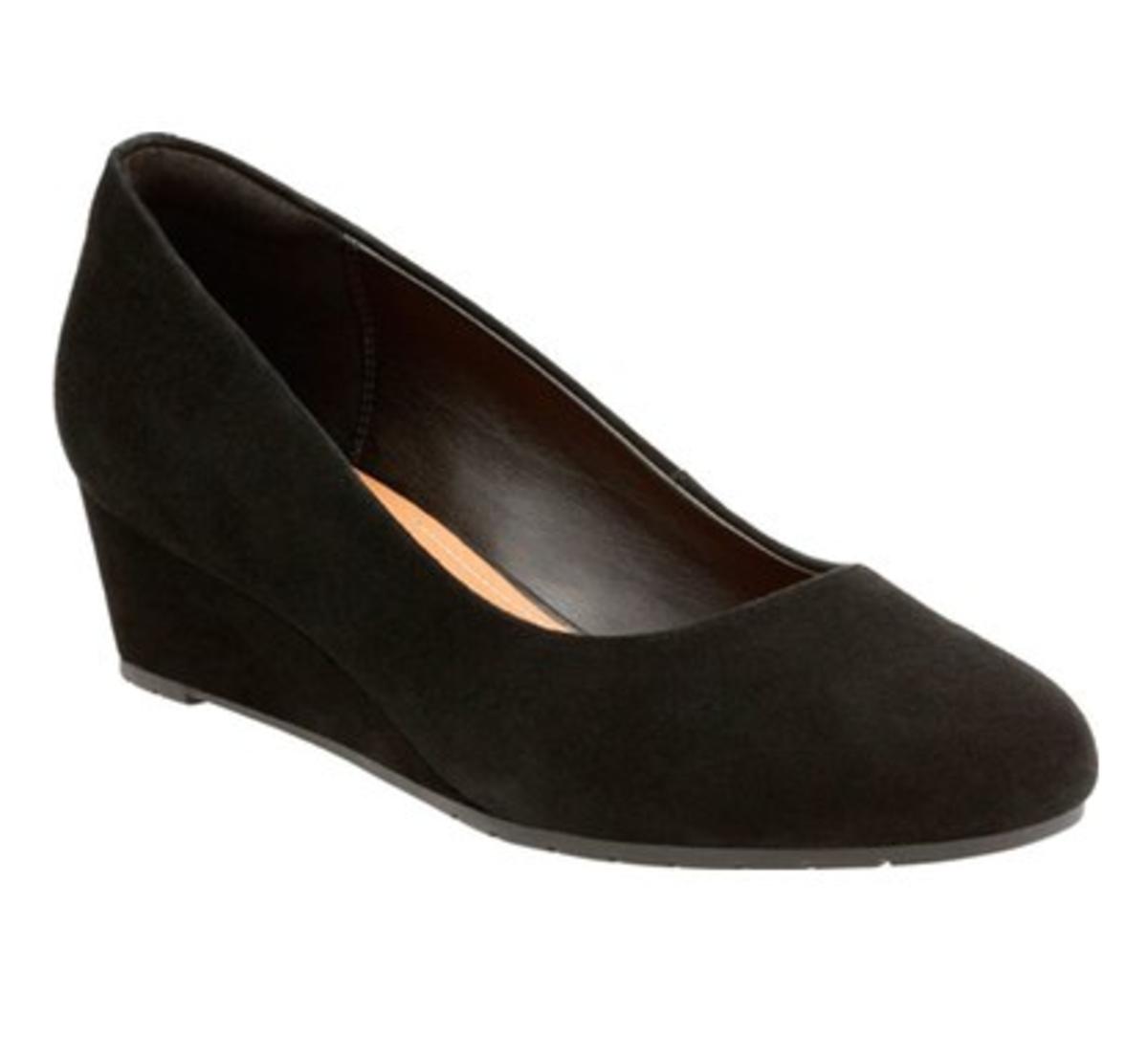 black suede wedge pumps. 1.5 inch heel