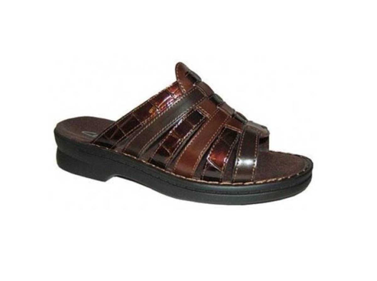 leather multi strap slide sandal with fully padded contoured foot bed