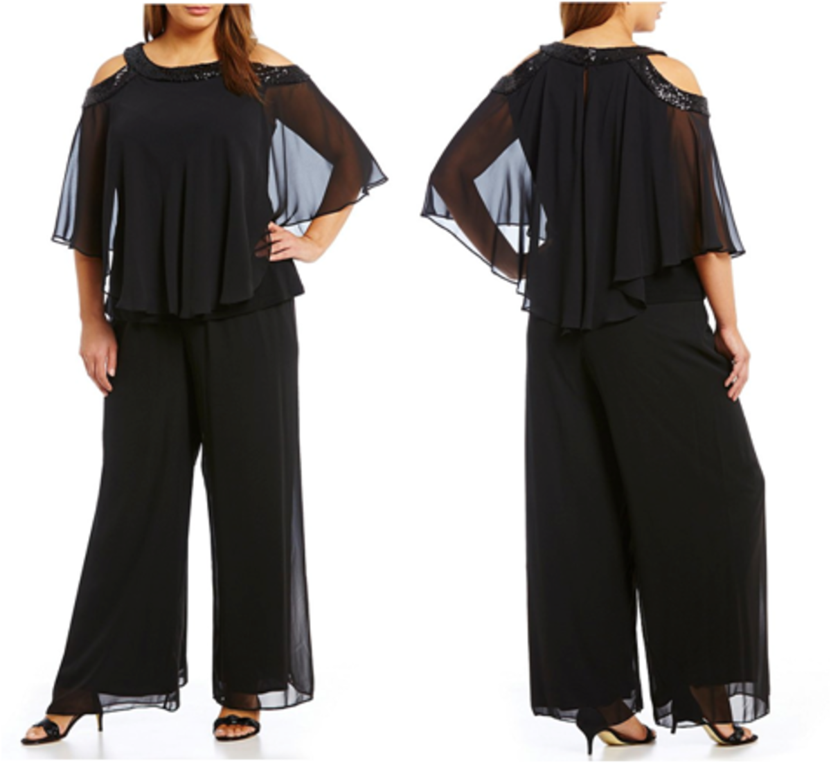 evening pant set with chiffon popover capelet, cold-shoulder sleeves, sequin trim at neck and shoulder
