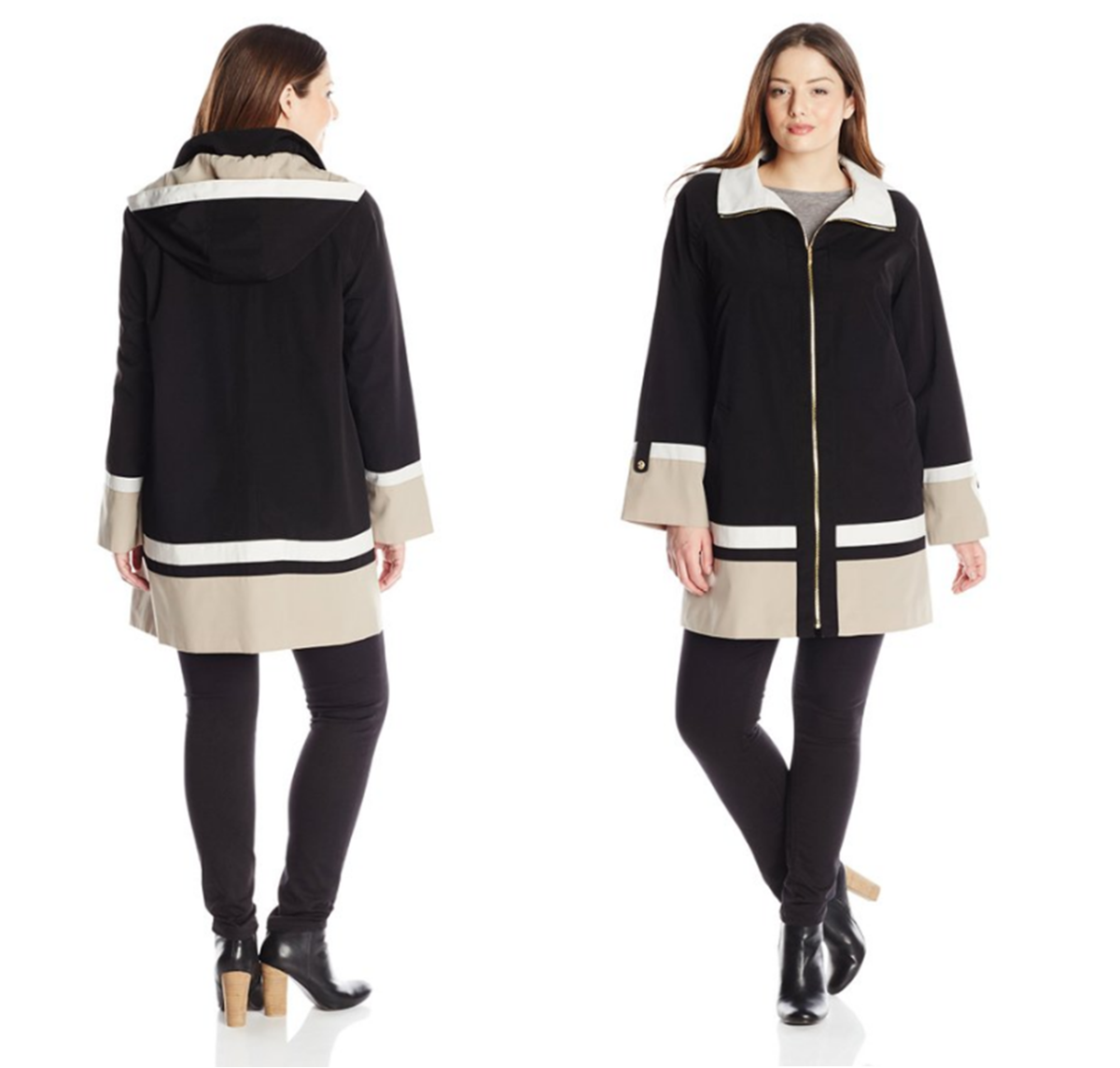 A-line water-resistant poly color-block jacket with button-tab sleeve cuffs and detachable hood