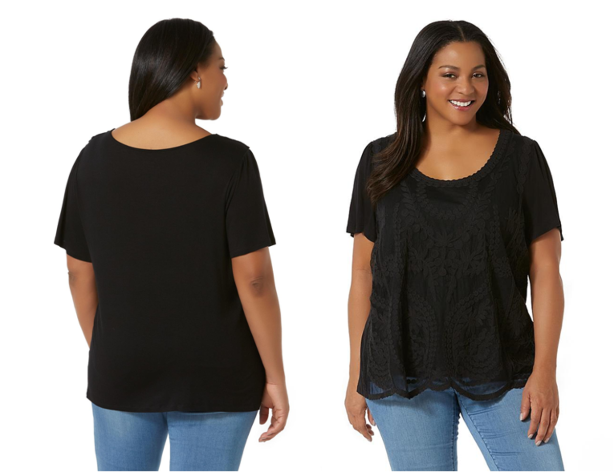 lace trim top in a lightweight rayon knit with floral lace overlay, scalloped hem, gathered shoulders and deep scoop neck